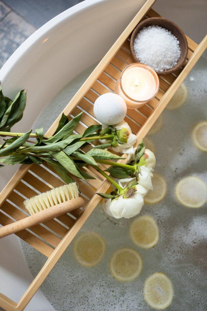 tray with bath bomb on tub